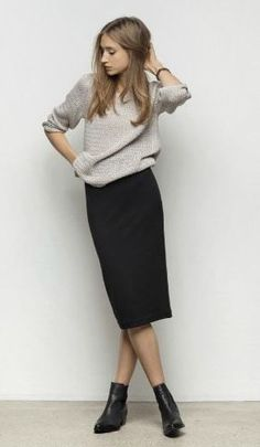 Midi pencil skirt + sweater - but you have to be like, super tall... and im not.