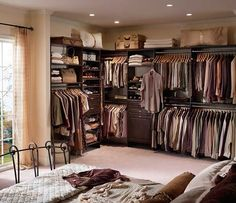 Closet Maid - Wardrobes that Wow A nice alternative to closets, wardrobes create storage in underutilized spaces and look fabulous- Closet System Open Master Closet Design, Walk In Closet Design, Wardrobe Design, Closet Designs, Small Bedroom Storage, Small Bedroom Designs, Closet Storage, Closet Organization, Small Bedrooms