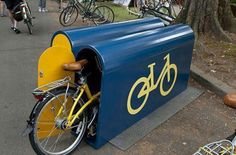 Attractive but very narrow bike locker. Click image to enlarge and visit the Slow Ottawa 'Nice Racks' board for more innovative storage. Velo Design, Bicycle Design, Bicycle Decor, Bicycle Storage, Bicycle Rack, Garage Velo, Bike Locker, Bike Shelter, Velo Cargo