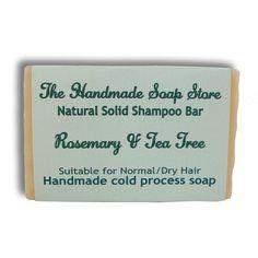 Rosemary & Tea Tree: All Natural Handmade Shampoo Bar - Normal toDryHair.The fresh and clean fragrance of healing rosemary and invigorating tea tree