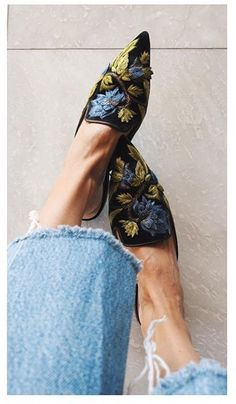 Pure Elegance #denim #embroidey #slippers