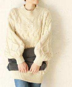 【楽天市場】【再入荷♪1月22日12時&22時より】☆☆「french」袖ポワンの編み込みニットトップス:cawaii