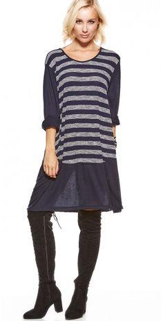 LikeLondon tunika klänning med ränder blå e0d5898f0b388
