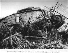"""British Tank WW1 """"Firespite 2"""" in the German barbed wire entanglements"""