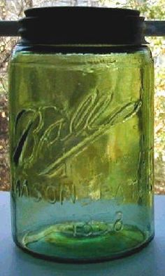 Balll IMPROVED MASON'S PATENT 1858 Extremely rare olive-emerald green and aqua swirled pint!