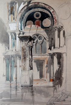 Part of Saint Mark's Basilica, Venice: Sketch after Rain John Ruskin Details Subjects References Artist/maker John Ruskin - Object type drawing Material and techniquewatercolour and bodycolour and ink over graphite on grey wove paper Ashmolean Art Et Architecture, Watercolor Architecture, Art Aquarelle, Watercolor Paintings, Watercolors, Art And Illustration, John Ruskin, A Level Art, Urban Sketching