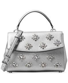 Michael Michael Kors Ava Jewel Small Top Handle Satchel - Silver