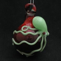 Octopus Ornament Hand Blown Ruby K Glass in Pale Opaque Green