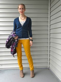 mustard and navy blue
