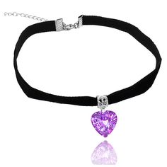 Velvet Chokers with Brass Crystal Under 16 Inches ($6.99) ❤ liked on Polyvore featuring jewelry, necklaces, jewelry & watches, purple, crystal stone necklace, brass jewelry, purple crystal necklace, crystal stone jewelry and crystal necklace