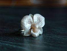 Orchid ring Pearl ring Floral jewelry Wedding ring Handmade ring Polymer clay Silver ring White orchid ring Unique gift for women