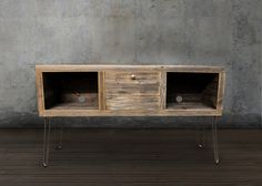 Reclaimed Wood Media Console Television Stand by AtlasWoodCo Reclaimed Wood Media Console, Tv Entertainment Stand, Snow Fence, Television Stands, Cord Organization, New Furniture, Furniture Ideas, Living Room Decor, New Homes