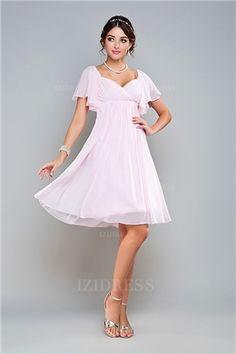 Craquez pour une Robe demoiselle dhonneur violette en mousseline à mancheron  plissé au ras des genoux en ligne d89e271d86ba