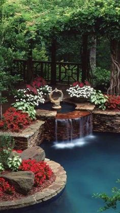 Ideas for backyard oasis diy water features Backyard Water Feature, Ponds Backyard, Backyard Landscaping, Landscaping Ideas, Backyard Pergola, Christmas House Lights, Decorating With Christmas Lights, Christmas Decorations, Holiday Lights