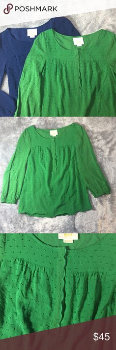 """Bundle of 2 Maeve Scalloped Tops Green and navy blue tops in great condition. Scallop detail on the half button detail and the hem. Length 22"""" pit to pit 16"""" NO TRADES Anthropologie Tops Blouses"""