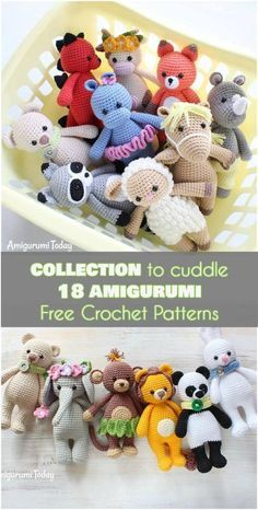 Collection to Cuddle 18 Amigurumi [Free Crochet Patterns] Collection to Cuddle Amigurumi Free Crochet Patterns] Now you see all of this amazing collection together. You can make just your favorite toys or collect them all. You can find these amazing patte Crochet Gratis, Crochet Amigurumi Free Patterns, Crochet Animal Patterns, Cute Crochet, Crochet Animals, Crochet Dolls, Crotchet, Crochet Stitches, Knitting Patterns