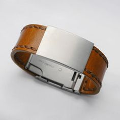 Rust Color Leather Bracelet with Brushed Stainless ID Tag 6 1/2 inch