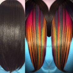 Underlights. Alfaparf Revolution, Kenra Neons, and Joico Intensities. Watch My Hair Bounce Studio. Revolution, Hidden Hair Color, Wedding Hairstyles, Cool Hairstyles, Underlights Hair, Hair Images, Hairstyle Images, Hair Creations, Neon