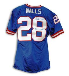 """Autographed Everson Walls New York Giants Blue Throwback Jersey Inscribed """"SB XXV Champs"""""""