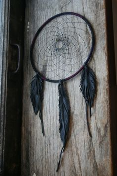 Black Leather Dreamcatcher by MOONTHANGS on Etsy
