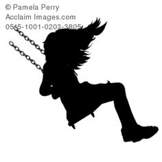 Clip Art Illustration of a Little Girl on a Swing in Silhouette of melted crayon project
