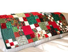 Holiday Sofa Throw Quilt, Cardinals and Poinsettias Christmas Quilt, Handmade Christmas Quilted Throw, Red Green Christmas Quilt
