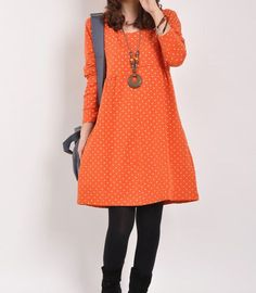 Orange cotton dress long sleeve dress maxi dress casual cotton shirt maternity dress large size cotton tops cotton blouse plus size dress