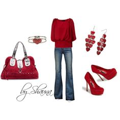 dark red bubble sleeve bow top, created by shauna-rogers on Polyvore