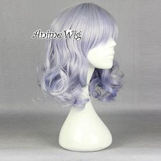 Amagi Brilliant Park 40cm Wig Cosplay Light Purple Mixed Silver White Hair Myusu