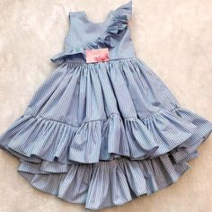 Girls ruffle sleeve stripe sundress Model Number: Baby Girl Dresses Material: Cotton Style: Casual Decoration: Draped Dresses Length: Mid-Calf Collar: O-neck Built-in Bra: No Fit: Fits true to size, take your normal size Frocks For Girls, Dresses Kids Girl, Kids Outfits Girls, Girl Outfits, Dress Girl, Baby Dresses, Sleeveless Dresses, Cotton Dresses, Strapless Dress