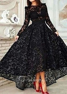 long prom dresses 2016 on sale at reasonable prices, buy Hot Sale Black Lace Long Prom Dresses 2016 Long Sleeve Vestidos Lace Hi Lo Party Gown Special Occasion Dresses Evening Dress from mobile site on Aliexpress Now! Prom Dresses For Teens, Prom Dresses Long With Sleeves, Cheap Prom Dresses, Dress Long, Dresses 2016, Formal Dresses, Bridesmaid Dresses, Lace Dresses, Gowns 2017