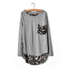 Stylish Round Neck Leopard Print Chiffon Splice Irregular Hem Long Sleeve Loose Fit T-Shirt For Women-$7.78