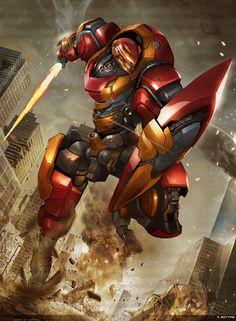 Guaro of gigantic 8 by Rettag Robot Concept Art, Armor Concept, Character Concept, Character Design, Mecha Suit, Gundam Wallpapers, Carapace, Mekka, Cyberpunk Character