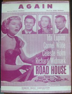 """"""" Again """" Sheet Music from 1948, From Movie """"Road House"""" Ida Lupino On Cover Visit ivanhoe.ecrater.com. the ebay alternative for great deals"""