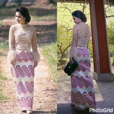 Myanmar Traditional Dress, Traditional Dresses, Burmese, Asian Beauty, Trendy Fashion, Dress Up, Gowns, Sewing, Blouse