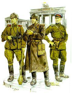 ARMATA ROSSA - Sergente maggiore Granatiere controcarro dell'Armata Rossa armato con RPG-1  - Sottotenente di artigieria dell'Armata Rossa arrmato con pistola Tokarev 42  - Ufficiale di sicurezza interna del NKVD con Tokarev 42.