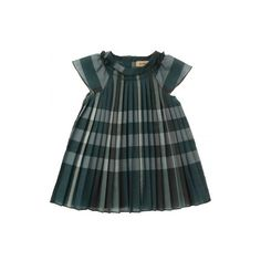 99a13f1760 Burberry Baby Girls Green Check Pleated Dress (2.115 ARS) ❤ liked on  Polyvore featuring