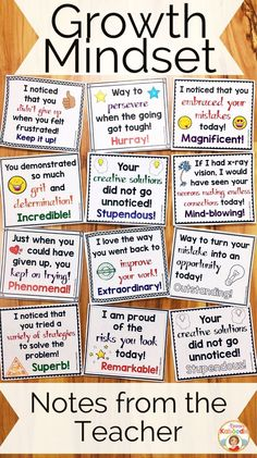 Do you teach your students about growth mindset? These notes from the teacher are the perfect complement to my other growth mindset products, including affirmation posters, flip books, and a growth mindset privacy office! Easy to use for teachers and very beneficial for students, these rewarding notes will reinforce your students for incorporating growth mindset concepts into their daily lives. #mathpracticeonline #learnmathonline