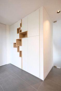 Roeselare / 2017 Shelving Design, Shelf Design, Wardrobe Interior Design, Room Interior, Apartment Kitchen, Interior Architecture, Furniture Design, House Design, Living Room