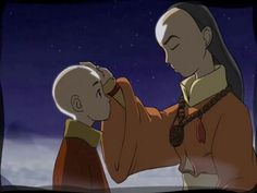Avatar Aang and Avatar Yangchen in the Spirit world.