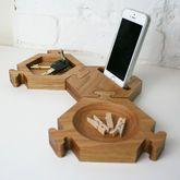 Solid Oak Interlocking Hexagon Desk Tidy