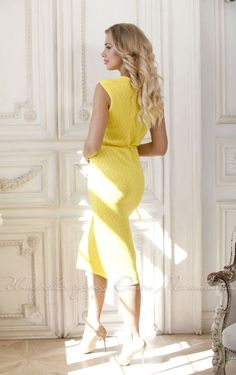 Openwork yellow dress by Olesya Masyutina. Knitted dress silky viscose with cotton, very pleasant to the skin, dress with pigtail belt, midi sheath dress. 800 models of knitted and fabric women clothes in casual style, evening and wedding