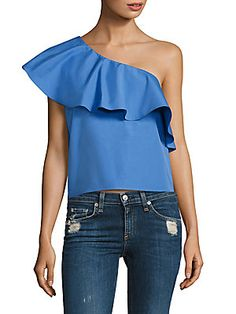 ALICE AND OLIVIA CALLA RUFFLED COTTON TOP. #aliceandolivia #cloth #