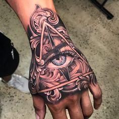 Tattoos Eye In Hand — Hand Tattoos Design Unique Hand Tattoos, Mandala Hand Tattoos, Butterfly Hand Tattoo, Skull Hand Tattoo, Rose Hand Tattoo, Hand Tats, Fatima Hand Tattoo, Triangle Tattoos, Hand Of Fatima