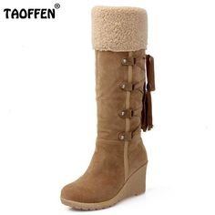 TAOFFEN Ladies Snow Warm Boots Women Wedges Knee-high back strap Boots Female Cotton Platform Botas Footwear Shoes Size 34-43