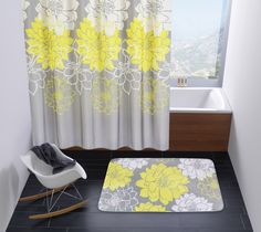 Wimaha Peony Flower Fabric Shower Curtain Mildew Resistant Waterproof Standard Shower Bath Curtain for Bathroom Yellow and Grey 72 x 72 *** Be sure to check out this awesome product. (This is an affiliate link) Bathroom Bath, Bathroom Curtains, Fabric Shower Curtains, Floral Fabric, Fabric Flowers, Yellow Bathrooms, Country Curtains, Peony Flower, Bath Rugs