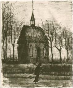 Vincent van Gogh Church in Nuenen, with One Figure Drawing 1884