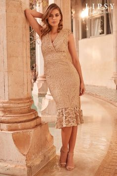 1d18b1fbe0ee Buy Lipsy VIP Embroidered Lace Plunge Flute Hem Midi Dress from the Next UK  online shop