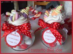 barattoli decorati con caramelle in fimo per la cresima di Benedetta!