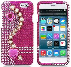 """myLife Pink, White, and Gold {Crystal Hearts and Circles} 2 Piece Snap-On Rubberized Protective Faceplate Case for the NEW iPhone 6 (6G) 6th Generation Phone by Apple, 4.7"""" Screen Version """"All Ports Accessible"""" myLife Brand Products http://www.amazon.com/dp/B00U33BCAQ/ref=cm_sw_r_pi_dp_xkyhvb0MDDZCB"""